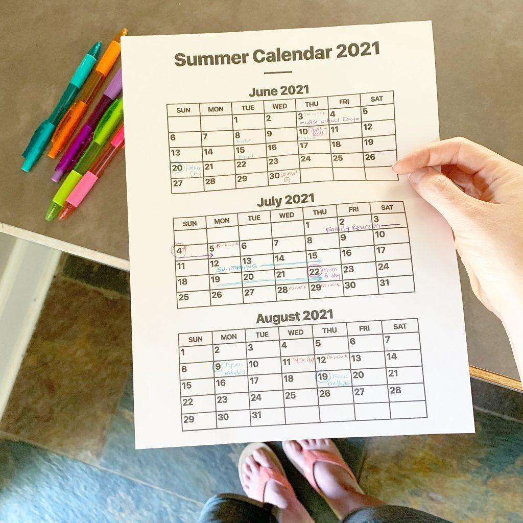 Our 2021 Summer Calendar